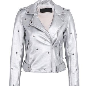Faux leather silver studded motorcycle jacket star